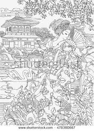 Coloring Pages Japanese Woman On A Background Of Conventional Oriental Landscape