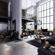 interior high ceilings factory windows industrial living room