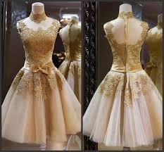 2016 gold cocktail dresses high neck sleeveless bow sash a line