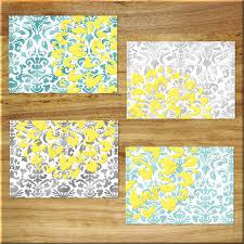 Yellow Gray And Teal Bathroom by Damask Design Teal Aqua Gray Yellow Wall Art Prints Decor Floral