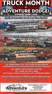 Truck Month At Adventure Dodge!, Adventure Dodge Jeep RAM Chrysler ... Dodge Trucks Incentives Best Truck 2018 Capital Chrysler Jeep Ram Garner Nc New Celebrate Ram Month At Blog Detail Shop Our Top 10 Deals For The Of February Tubbs Brothers Rebates On 2017 Charger Lexington 3500 Dealer S Retro Epic Games Adventure Richardson March Sales Fseries Dominates Titan Gains Photo When Is Image Kusaboshicom 2019 1500 Production Fixes Costly For Fca