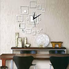 3D Wall Clock Mirror Sticker Watch Square Art Decor Decals Modern Design