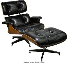 A Charles And Ray Eames Black Leather Lounge Chair And Ottoman For ... Vitra Lounge Chair Ottoman Santos Palisander Nero Alinium Polished Sides Black Vintage Black Leather Ekornes Strless Chairs Ottomans A Pair Eames Version Charles And Ray Designer Lounge Chair With Ottoman In Details About Style 100 Pu Rosewood Replica Italian Walnut Frame Bully By Zuo Modern And In Oak Plywood