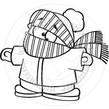 Cartoon Boy Bundled Up in Winter Clothes Black & White Line