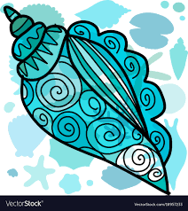 100 Sea Shell Design Marine Background Ornate Seashell For Your Design Vector Image