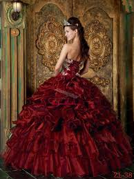 wine red ball gown strapless floor length organza ruffles