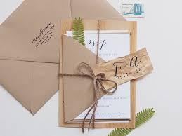 Wood Veneer Wedding Invitation Anelise Salvo Design OSBP