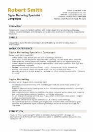 Digital Marketing Specialist Campaigns Resume Format