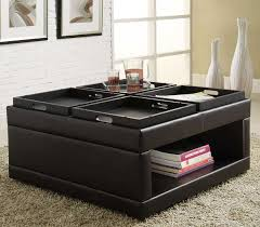 Leather Storage Ottoman with Tray Furniture