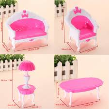 6PCS Pink Mini Living Room Sofa Furniture Sets Toy For Dolls Dream House Furniture Accessories Kids Birthday Gift