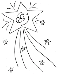 Smiling Shooting Star Coloring Pages Of Christmas