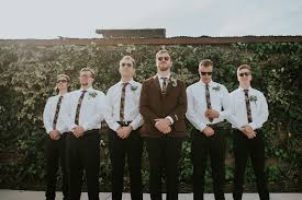 Groom And Groomsmen White Button Down Black Pants Thin Floral Tie In Herringbone Jacket