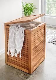 wäschebox trixy teakholz 45 x 45 x 66 cm wäschekorb wäscheaufbewahung badezimmer