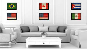 American Flag Texture United States Of America Canvas Print With Black Picture Frame Home Decor Wall