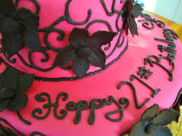 Simple 2 Tiered Birthday Cake close up on happy birthday