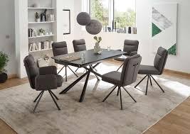 esszimmer essgruppe glastisch ausziehbar komplettset mit stühlen schwarz grau