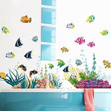 wandsticker4u wandtattoo unterwasserwelt bunt i wandbilder 130x42 cm i bad aufkleber fische sticker korallen see meer i wand deko für kinder