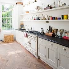Country Style Galley Kitchen With Open Shelves