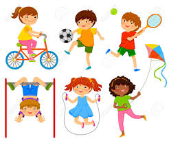 Active Kids Playing Outdoors Stock Vector