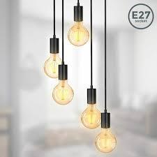 pendelleuchte vintage retro hängeleuchte fassung wohnzimmer edison e27 schwarz