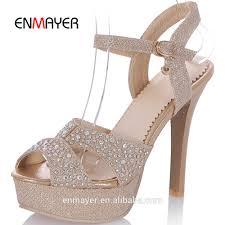 new design ladies summer high heel sandals fish mouth gold