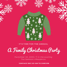 Red Snowflakes And Ugly Sweater Christmas Invitation Use This Template