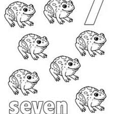Learn Number 7 With Seven Frogs Coloring Page