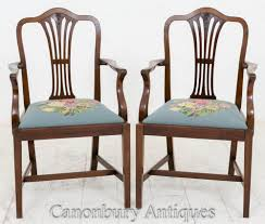 Details About Pair Hepplewhite Mahogany Arm Chairs Carvers Dining 4 Hepplewhite Style Mahogany Yellow Floral Upholstered Ding Chairs Style Ding Table And Chairs Pair George Iii Mahogany Armchairs Antique Set Of 8 English Georgian 12 19th Century Elegant Mellow Edwardian Design Antiques World 79 Off Wood Hogan Side Chair Eight Late 18th Of