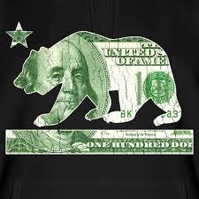 California Flag Money Bear Vintage Distressed Look