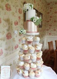 Rose Gold And Ivory Wedding Cupcake Tower 2 Tier Cake For Katie Russel