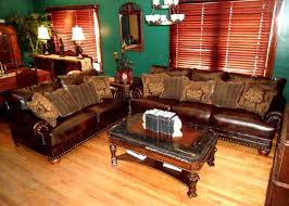 Classic Living Room Furniture With Western Style By Dark Brown Leather Sofa Has Nails Track On