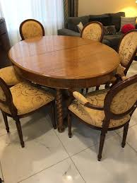 China Crystal Silver Art Jewellery Antique Tiger Oak Dining Room Table Eight Chairs Buffet Server Bar With Granite Top Hall Stand Couch