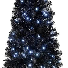 6ft Pre Lit Christmas Trees Black by Pre Lit Slim Black Christmas Tree With 200 White Led Lights 6 Ft
