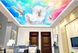 benutzerdefinierte 3d schalldichte decke wandbilder kostenloser zu fliegen 3d luxus decke tapete für badezimmer decke 3d stereoskopische tapete