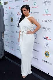 kim kardashian elegant white chiffon mermaid halter evening dress