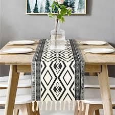 bateruni geometrisch tischläufer grau modern schwarz weiß tischwäsche matte faltenfrei rutschfest tischband dekoration für esszimmer urlaub 35
