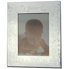 cadre photo thème naissance personnalisable métal argenté