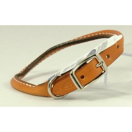 Auburn Leather - Rolled Round Dog Collar - 18 inch-22 inch - Tan, Size: 20