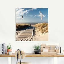 artland glasbild nordseestrand auf langeoog mit möwen strand 1 stück