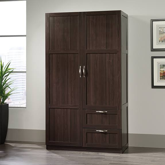 Sauder Wardrobe Storage Cabinet in Cinnamon Cherry
