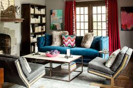ApartmentsSmall Mnimalist Living Room Bohemian Apartment Decor With Comfortable Blue Lovely Sofa And Red