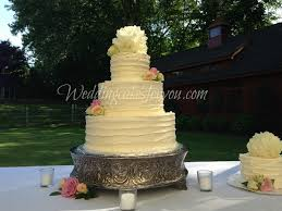 Rustic Wedding Cake On A Sliver Plateau