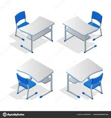 100 College Table And Chairs Isometric Set Of School Or College Desk Table With Chair Isolated On
