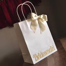 Bridesmaid Gift Bags Large White Paper With Handle G Confetti Momma