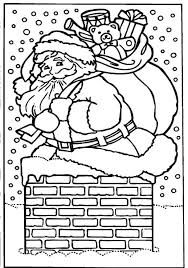 Santa Claus Cannot Come Into Chimney With Lots Of Christmas Gifts Coloring Pages
