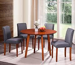 HarperBright Designs Round Wood Dining Table With 4 Fabric Chairs Oak