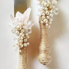 Rustic Wedding Cake Server Set Knife Cutting Servers Pearl