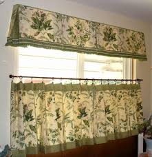 Winsome JC Penney Drapes In Green Floral Pattern On Beige Color Combined For Kitchen Window Furniture