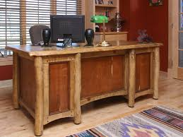 Lovely Rustic Office Design Completed With Tan Leather