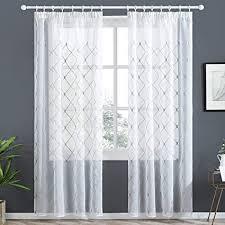 topfinel voile gardinen mit kräuselband mit stickerei kariert vorhang schlaufenschal für wohnzimmer schlafzimmer 1 stück 250x300cm hxb grau